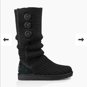 Ugg classic Cardy boot black knit size 8